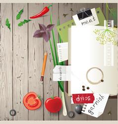 cookbook on wooden background vector image