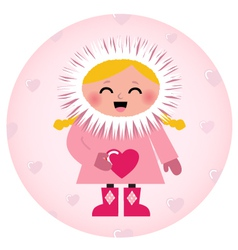Cute Eskimo girl holding heart isolated on white vector image vector image