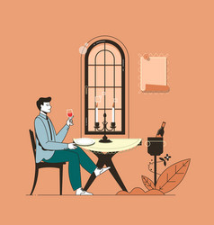 flat restaurant people vector image