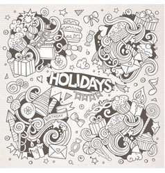 line art set of holidays doodle designs vector image vector image