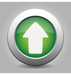 metal button with the green arrow vector image vector image