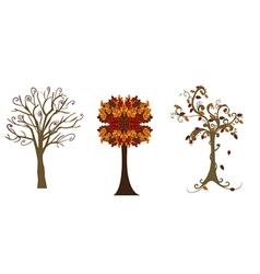 Three autumn trees vector image vector image