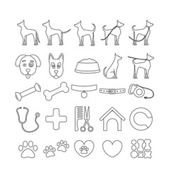 dog set line icons pet symbols and sign vector image vector image
