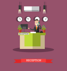 hotel reception in flat style vector image