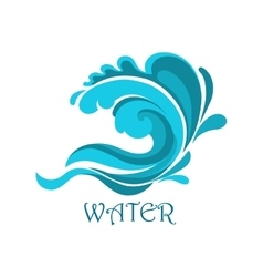 Ocean wave emblem with curly elements vector