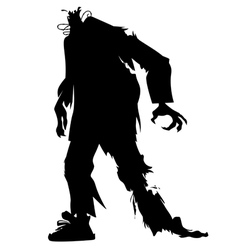 Silhouette of a zombie without a head vector