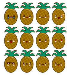 pineapple cartoon character set with emotions on vector image