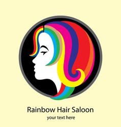 Rainbow hair saloon logo design vector
