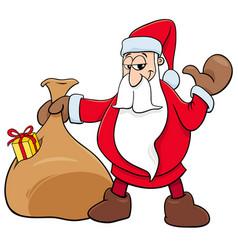 santa claus christmas character with sack vector image vector image