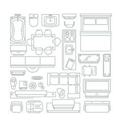 top view of different furniture set for layout of vector image vector image