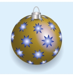 Golden with blue stars Christmas ball reflecting vector image