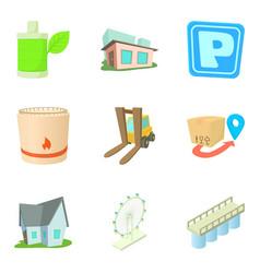 infrastructure maintenance icons set cartoon vector image