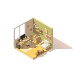 isometric low poly room cutaway icon vector image vector image