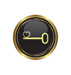 Key icon with heart vector image vector image