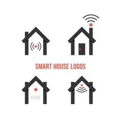 set of four black smart house logos vector image