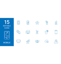 15 mobile icons vector image