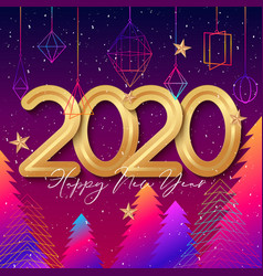 2020 happy new year background design with hanging vector