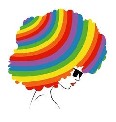 abstract rainbow hair vector image