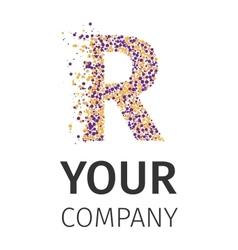Alphabet particles logotype letter-r vector