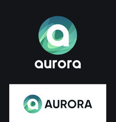 Aurora logo with letter a on black and white vector