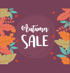 autumn sale leaves background lettering shopping vector image