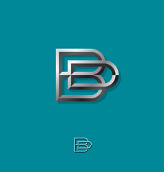 b and d combined silver letters b d monogram vector image