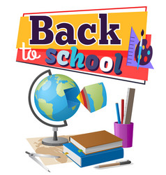 back to school sticker with educational supplies vector image