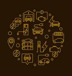 battery electric vehicle round yellow vector image