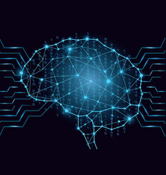 binary code in digital brain form composed of vector image