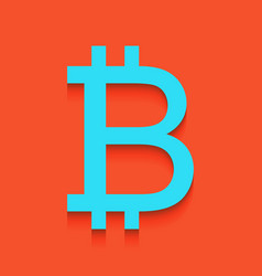 Bitcoin sign whitish icon on brick wall vector