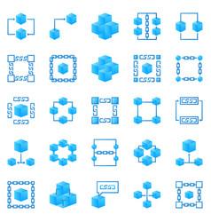 Blockchain colorful icons bright block vector