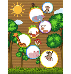 Border template with wild animals on cardboard vector