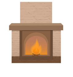 brick fireplace with a burning fire home vector image