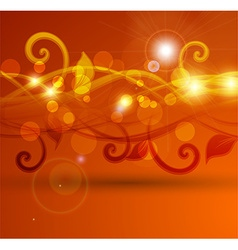 Bright orange abstract floral design vector