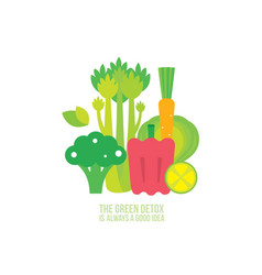 broccoli celery carrot lemon lime spinach healthy vector image