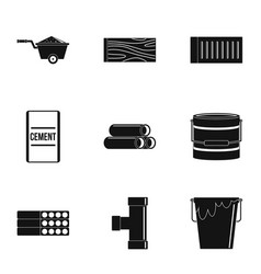 building tool icon set simple style vector image