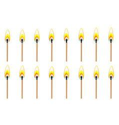 burning match animation sprite isolated on white vector image