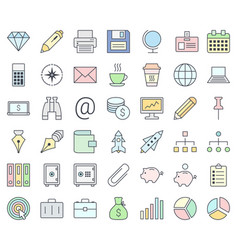 business colorful icon set isolated on white vector image