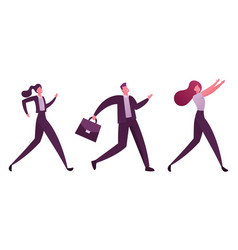 business people characters running row vector image
