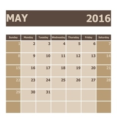 Calendar May 2016 week starts from Sunday vector image