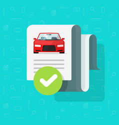 Car history check or report document approved vector
