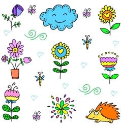 Collection of spring set item doodles vector