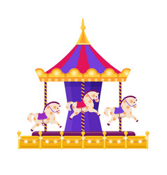 colorful carousel with horses on white background vector image