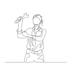 Continuous one line woman holds wrench in hand vector