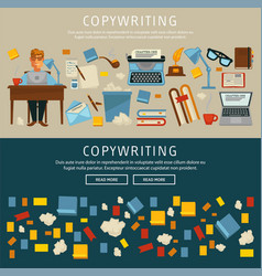 copywriting with content writer writing text vector image