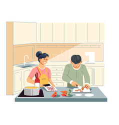 Couple cooking food at kitchen cutting vegetables vector