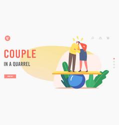 Couple in a quarrel landing page template angry vector