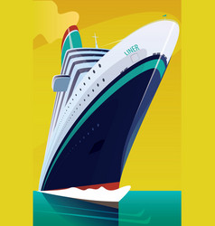 Cruise liner cuts through waves vector