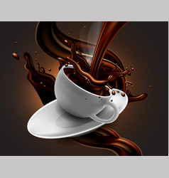 cup of hot chocolate with splash effect and vector image