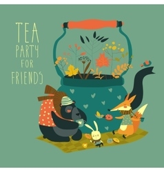 Cute animals friends sitting around teapot vector